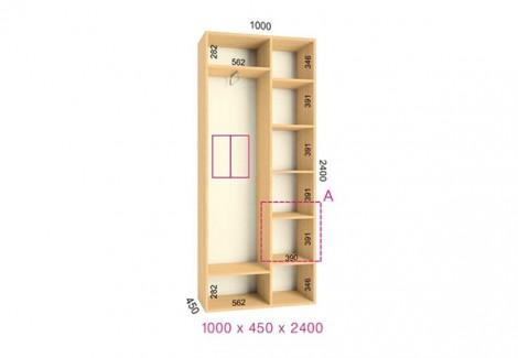 Двухдверный шкаф-купе Феникс Стандарт 1000х450х2400