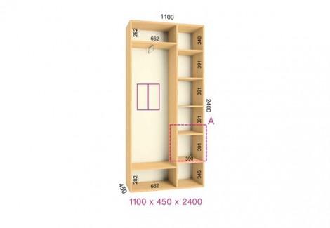 Двухдверный шкаф-купе Феникс Стандарт 1100х450х2400