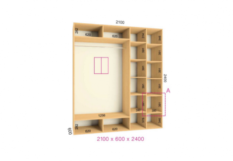 Двухдверный шкаф-купе Феникс Стандарт 2100х600х2400