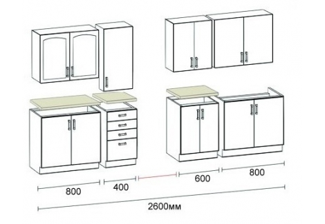 Комплект Кухни Венера П 2.6 м Світ Меблів