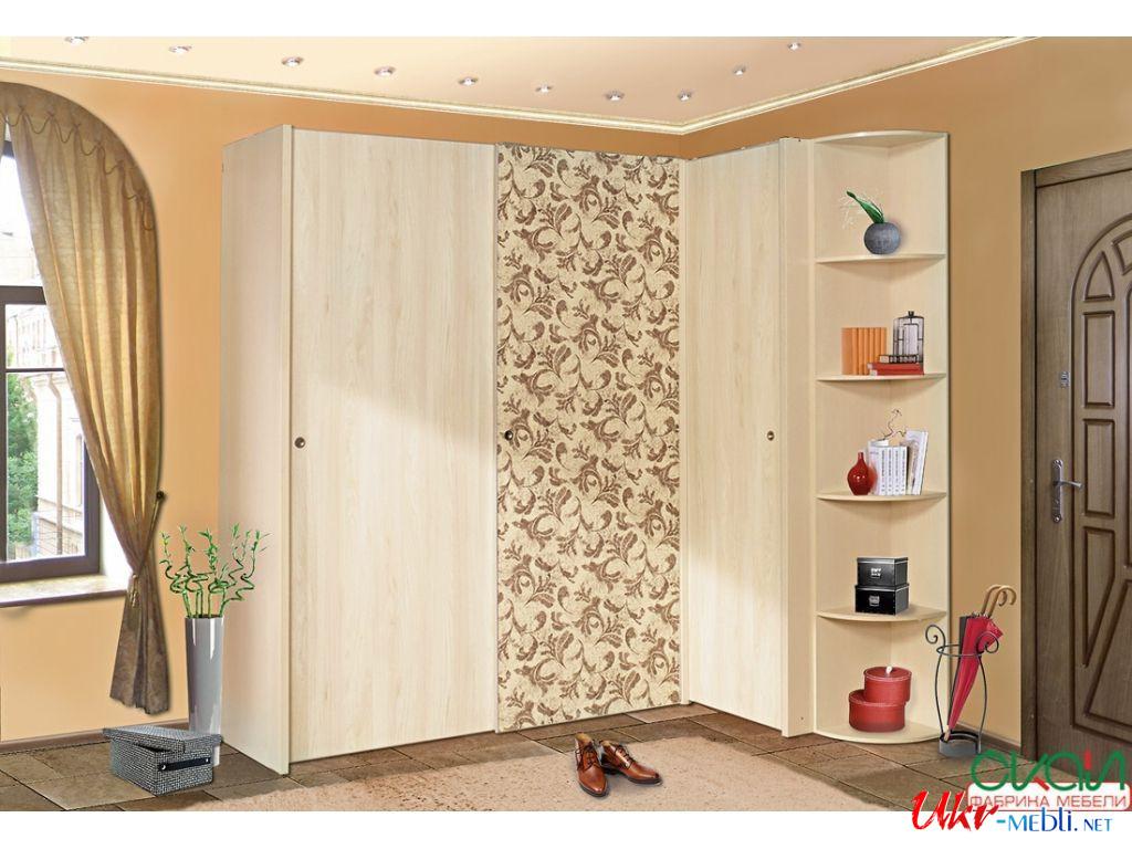 Угловой выпуклый радиусный шкаф-купе размером 0,9 - 1,3 м, высотой 1,7 - 2,2 м расцветка 2х в фабрика комфорт